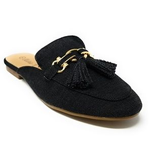 Women Denim Mules With Tassels, HK-7082, Black